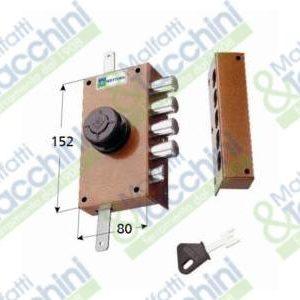 MOTTURA SERRATURA A POMPA TRIPLICE CON SCROCCO 30437 DX / SX